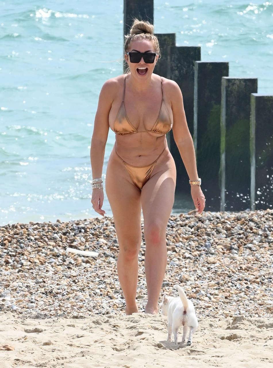Aisleyne Horgan Wallace Golden Bikini Beach Bournemouth
