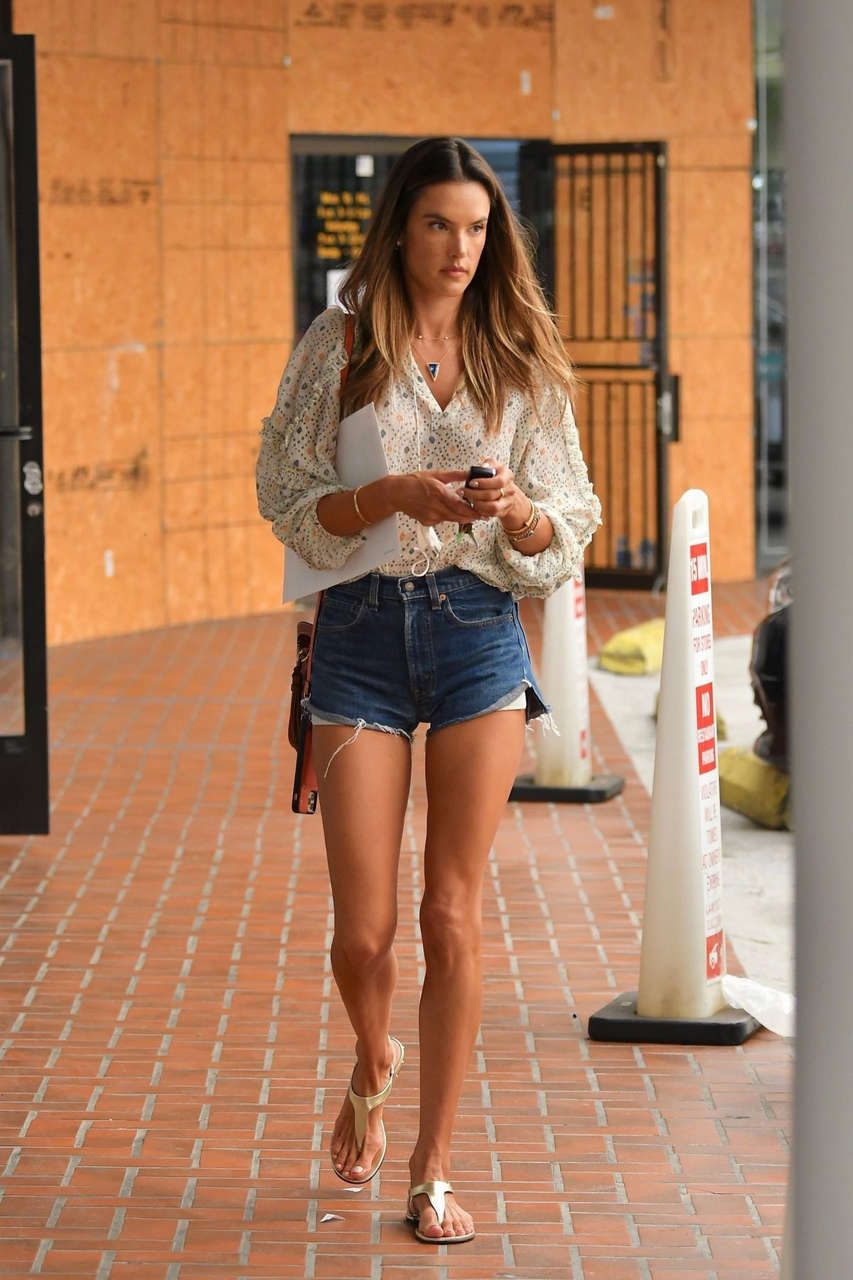 Alessandra Ambrosio Denim Shorts Out Brentwood