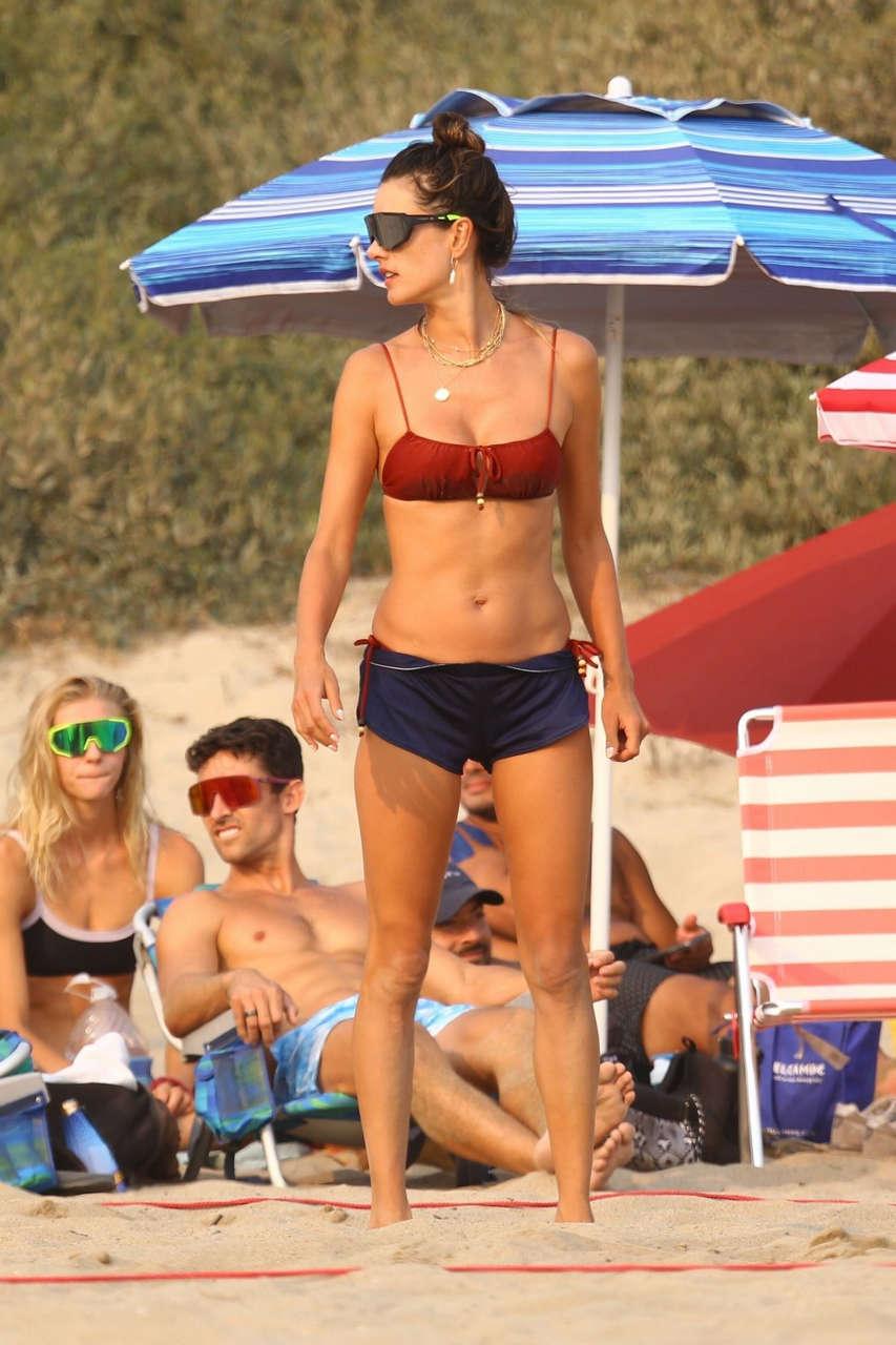 Alessandra Ambrosio Playing Volleyball Beach Malibu