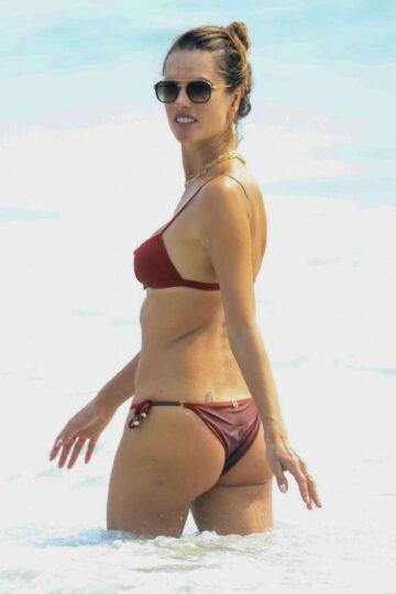 Alessandra Ambrosio Red Bikini Labour Day Beach Malibu