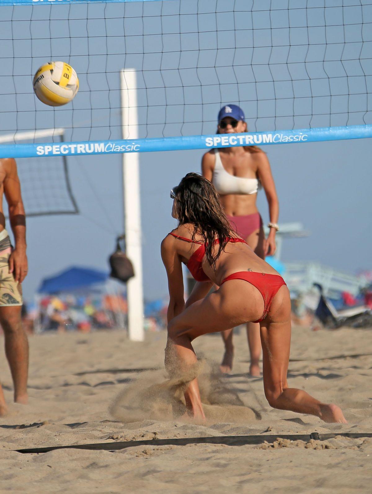 Alessandra Ambrosio Red Bikini Playing Volleyball Beach Malibu