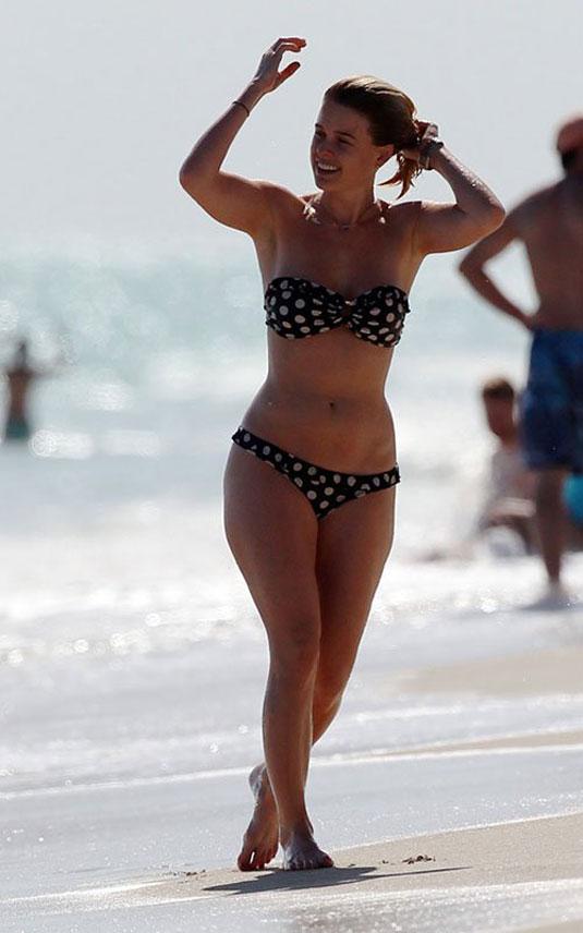 Alice Eve Polka Dot Bikini Beach Miami