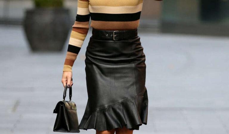 Amanda Holden Leather Skirt Arrives Global Radio London (10 photos)