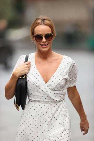 Amanda Holden White Polka Dot Dress Arrives Heart Radio London