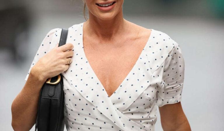 Amanda Holden White Polka Dot Dress Arrives Heart Radio London (9 photos)