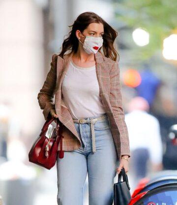 Anne Hathaway Leaves Hair Salon New York