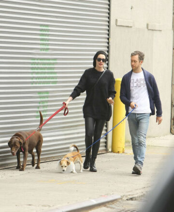 Anne Hathaway Walks Her Dogs Out New York