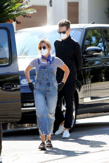 Ashley Tisdale Denim Overalls Out House Hunting Los Angeles