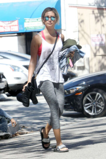 Ashley Tisdale Tights Leaves Pilates Class Los Angeles