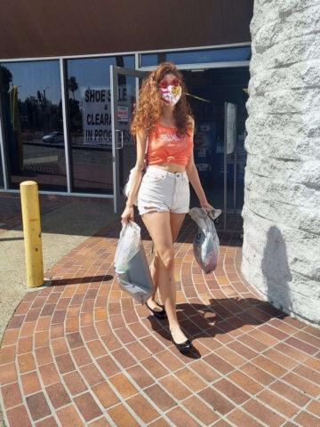Blanca Blanco Denim Shorts Out Shopping Los Angeles