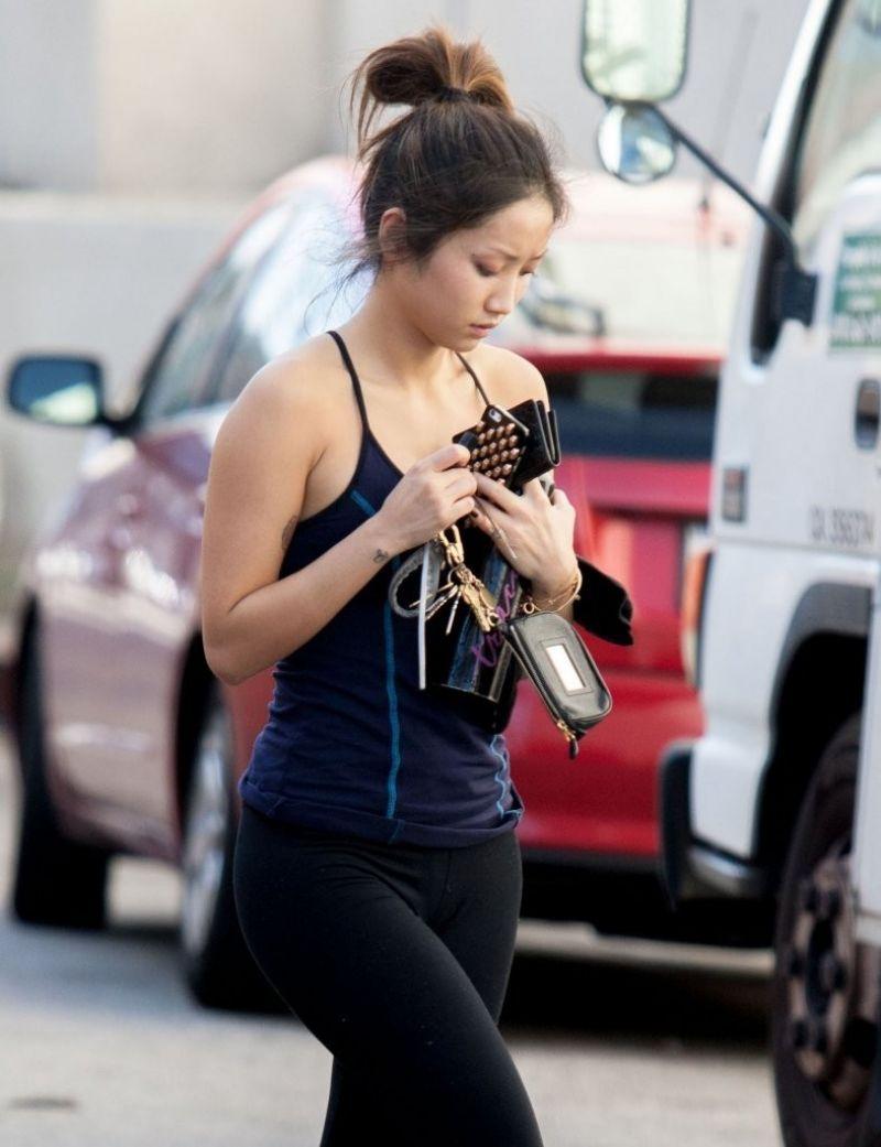 Brenda Song Tights Leaves Gym Studio City