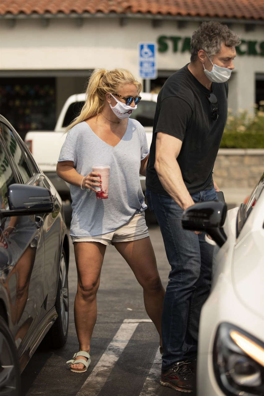 Britney Spears Wearing Mask Out Calabasas