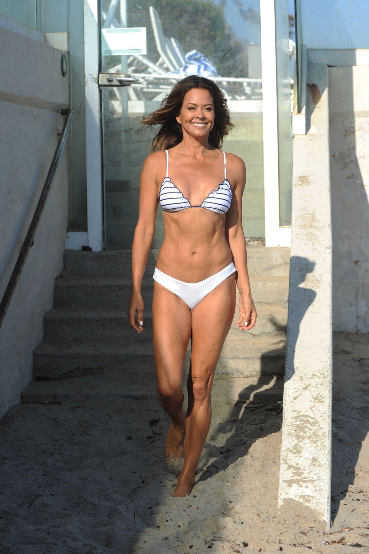 Brooke Burke Bikini Filming Her Body App Beach Malibu