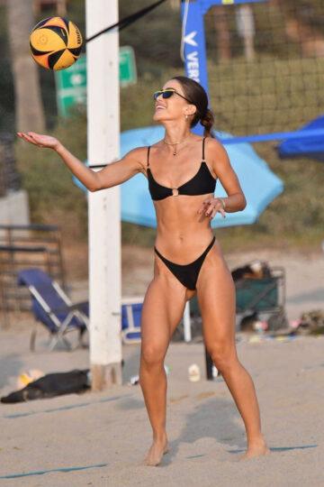 Camila Coelho Bikini Playing Volleyball Beach Santa Monica