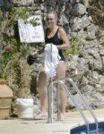Caroline Wozniacki Black Swimsuit Pool Italy