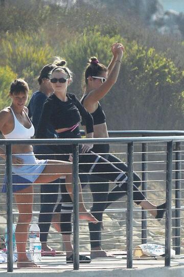Charlotte Mckinney Doing Yoga With Friends Beach Malibu