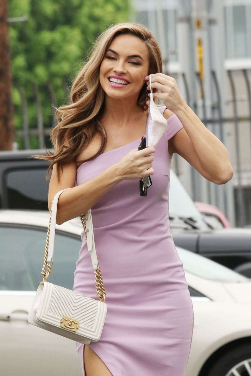 Chrishell Stause Pink Dress Arrives Press Conference Los Angeles