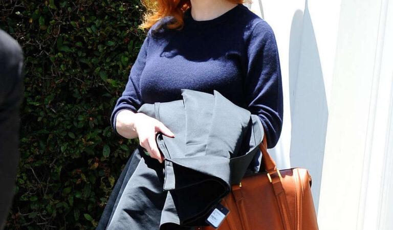 Christina Hendricks Arrives Meeting West Hollywood (18 photos)
