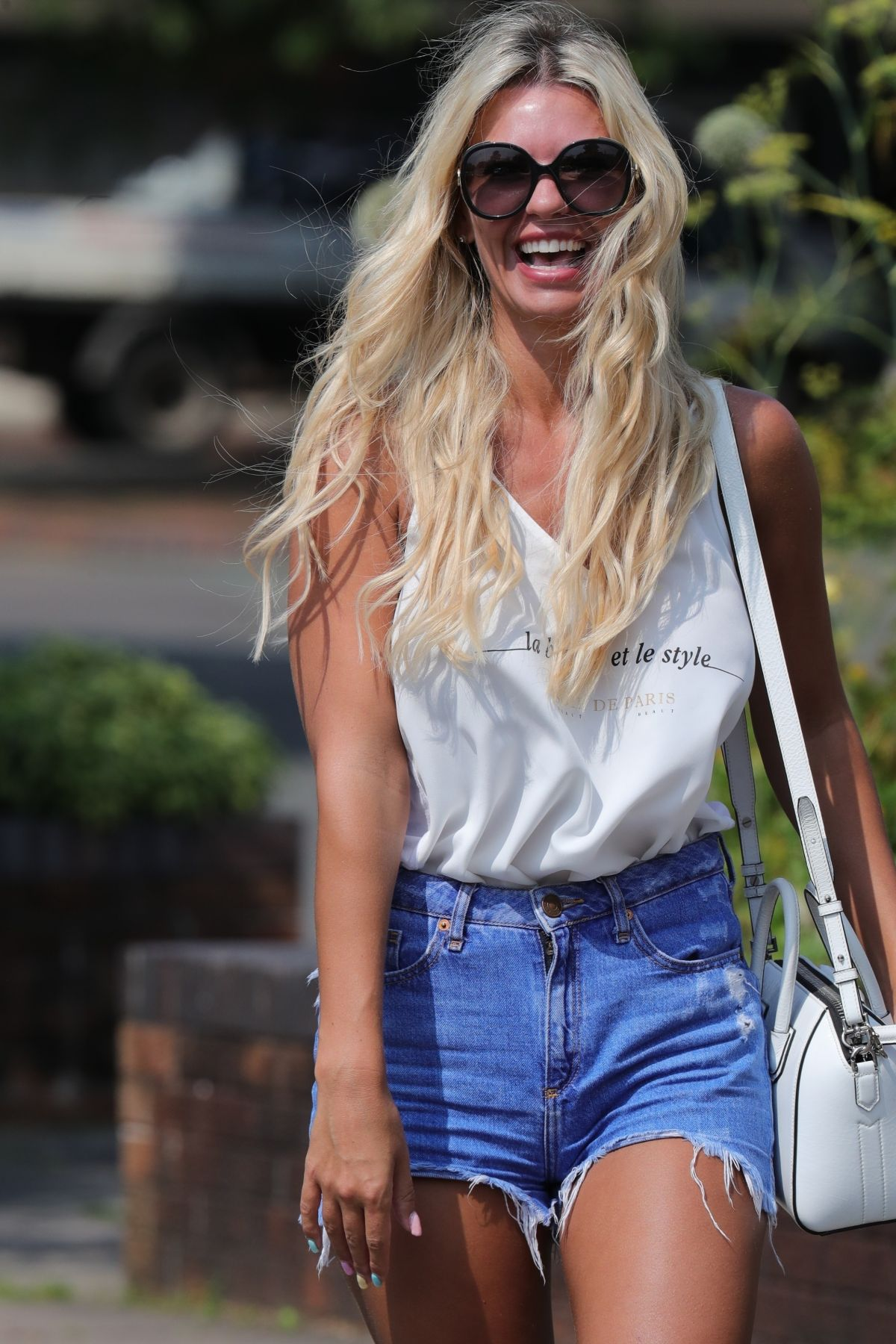 Christine Mcguinnes Denim Shorts Out Wilmslow