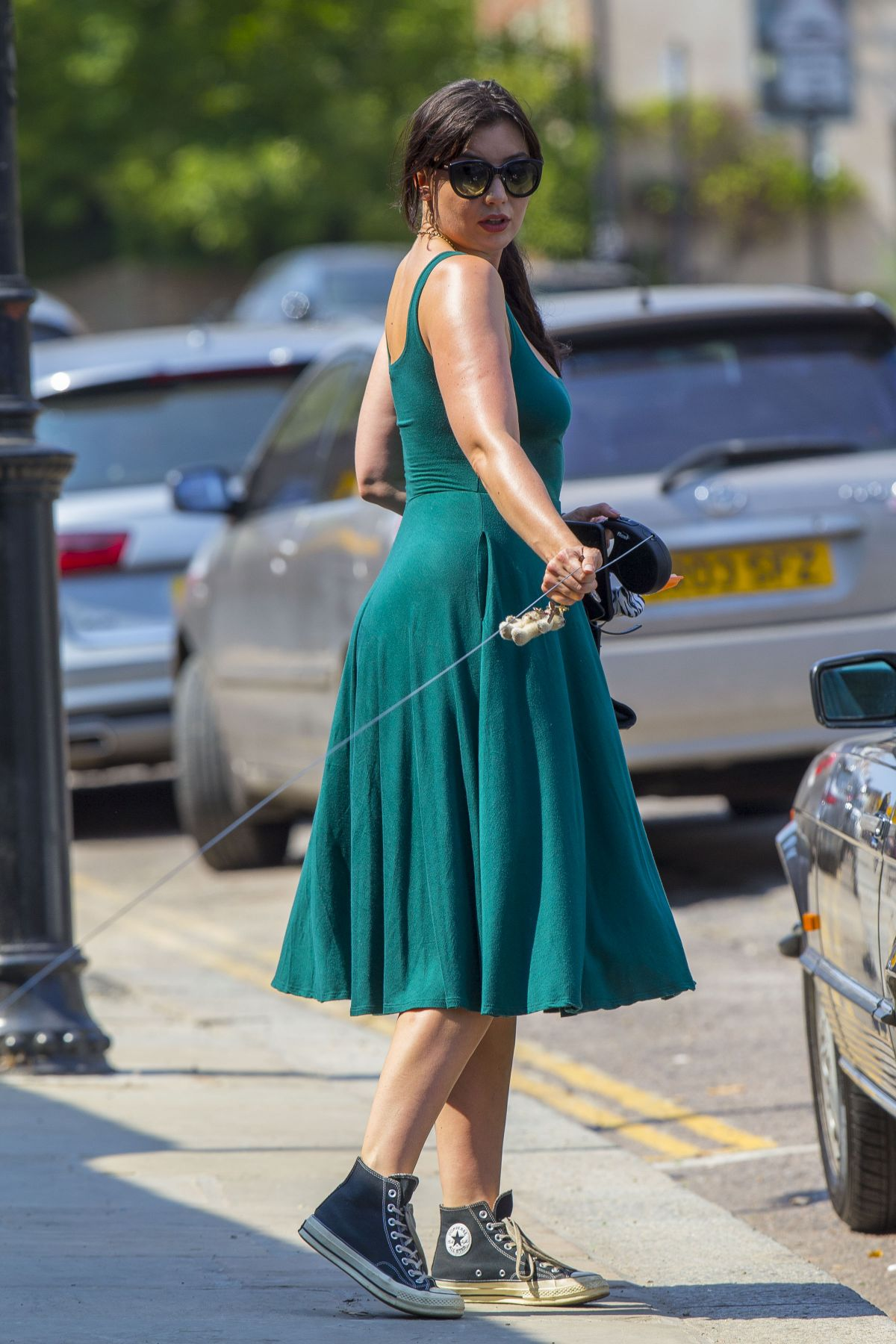 Daisy Lowe Green Dress Out With Her Dog London