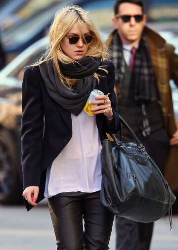 Dakota Fanning Leather Pants Out About New York