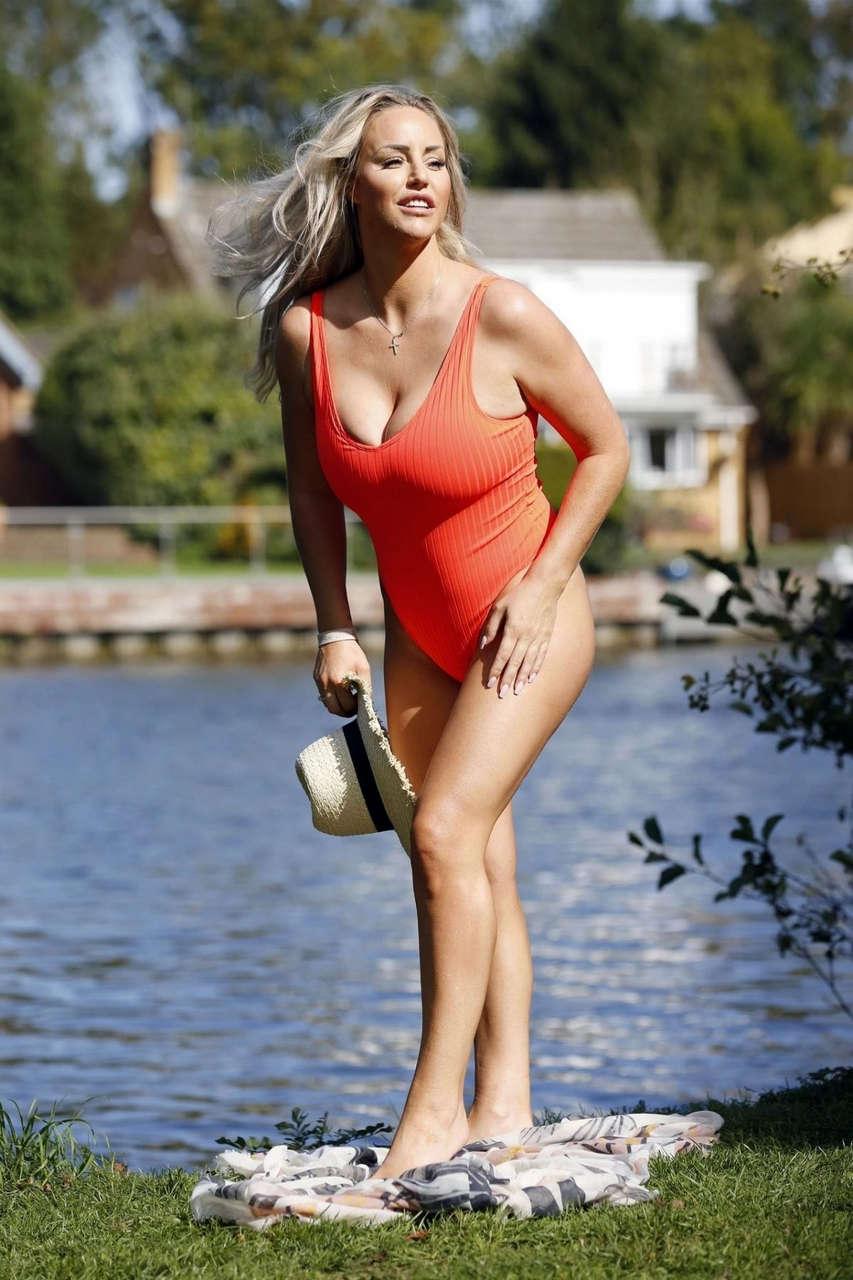 Danielle Mason Red Swimsuit