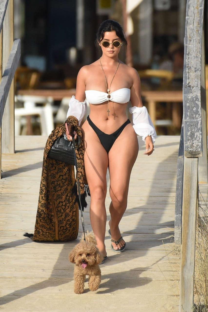 Demi Rose Bikini Out With Her Dog Beach Spain