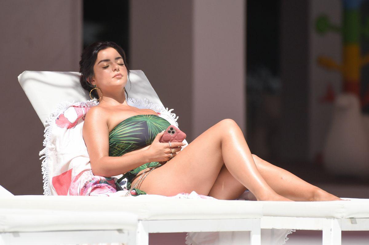 Demi Rose Mawby Bikini Pool Spain