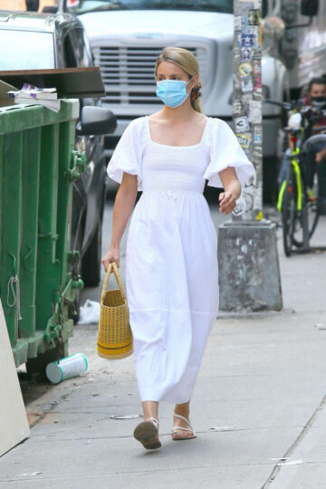 Dianna Agron Wearing Mask Out New York