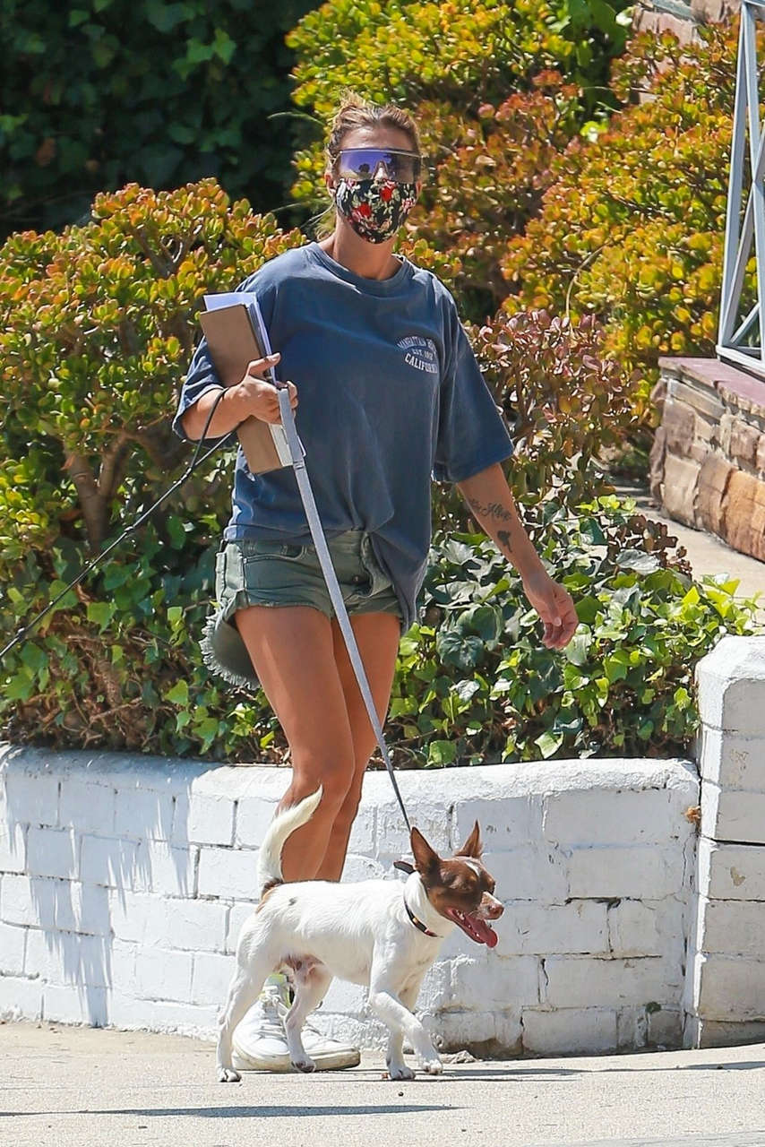 Elisabetta Canalis Denim Shorts Out With Her Dogs Beverly Hills