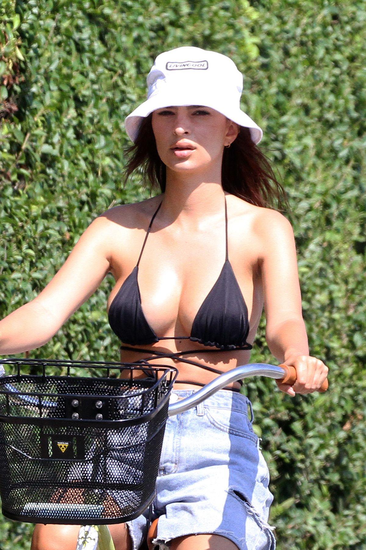Emily Ratajkowski Bikini Top Denim Shorts Riding Bike Hamptons
