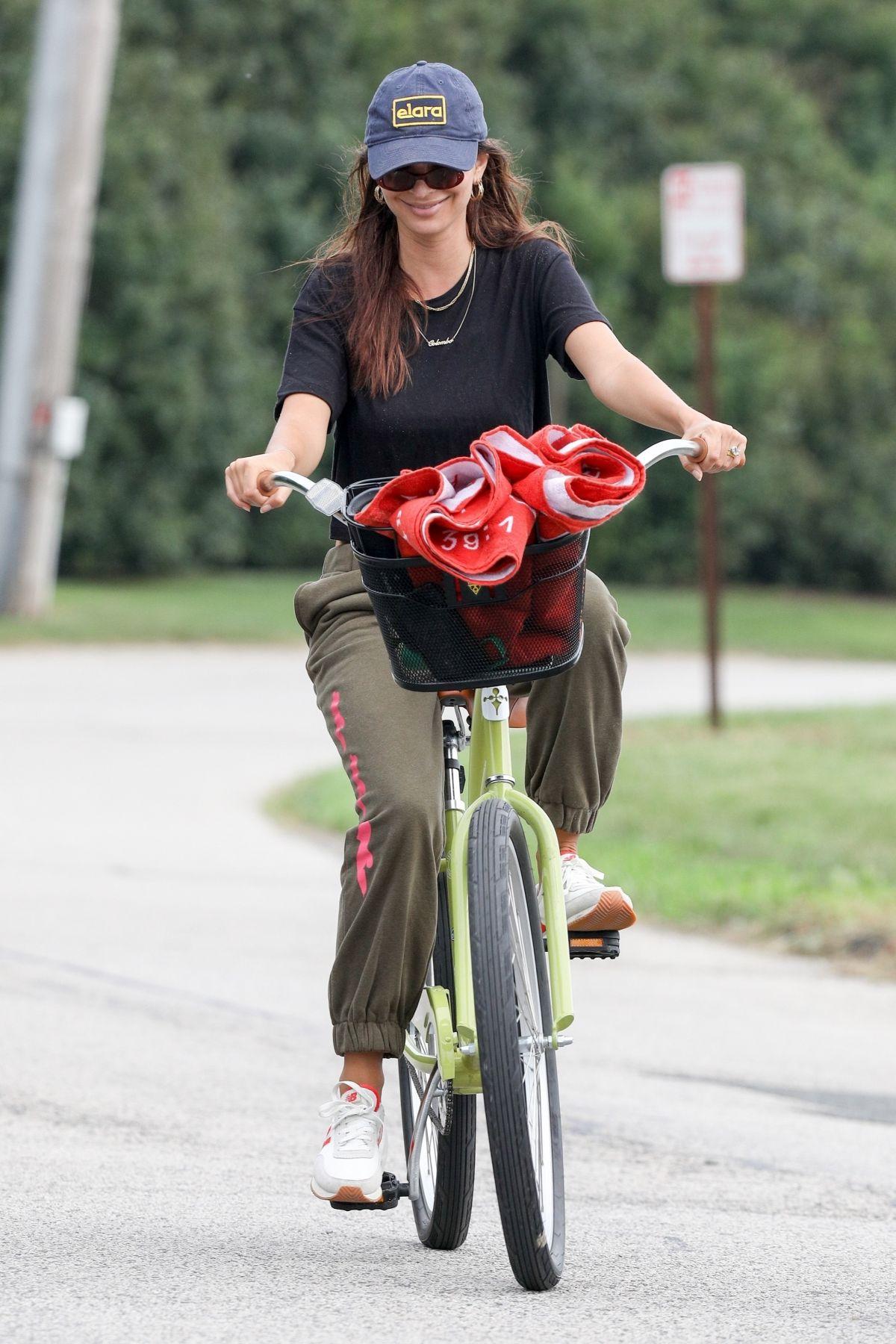 Emily Ratajkowski Out Riding Bike Beach Hamptons