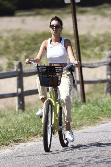 Emily Ratajkowski Out Riding Bike Hamptons