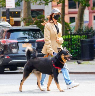 Emily Ratajkowski Out With Her Dog New York