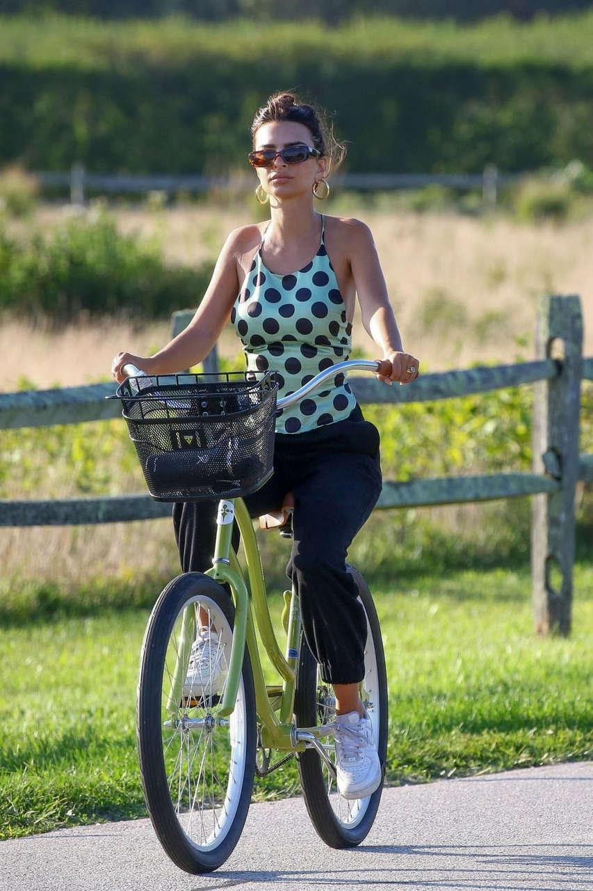 Emily Ratajkowski Riding Bike Out Beach Hamptons