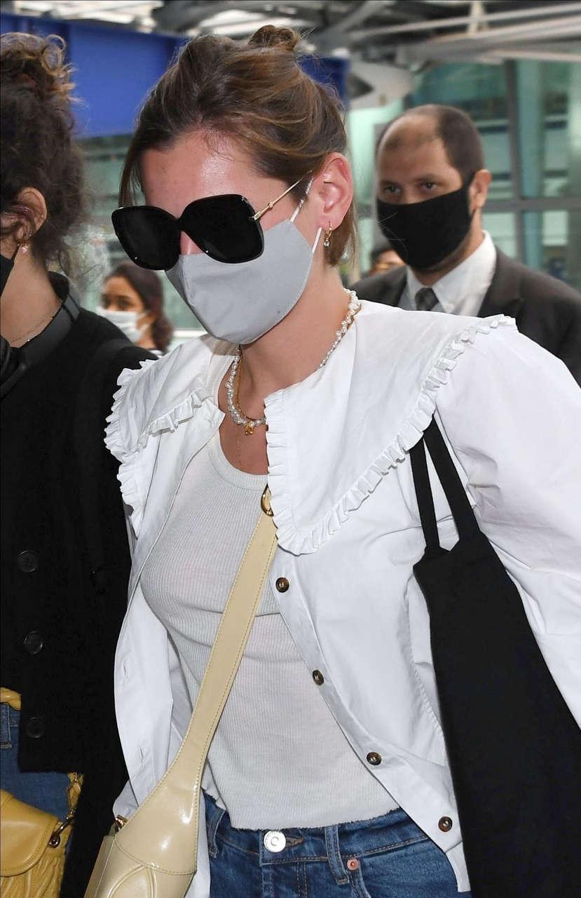 Emma Corrin Ripped Denim Leaves Her Hotel Venice