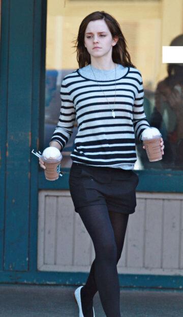 Emma Watson Leggy Candids Leaving Starbucks Los Angeles