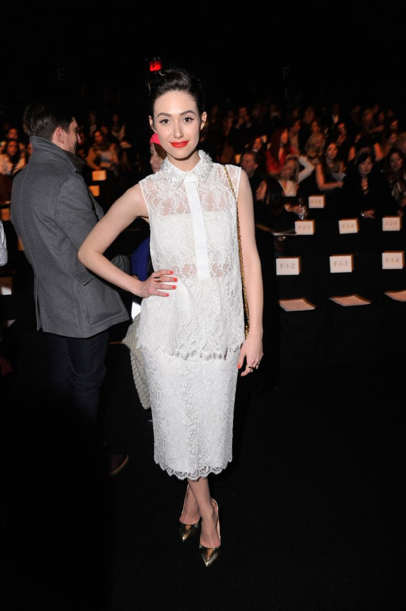 Emmy Rossum Monique Lhuillier Fashion Show New York