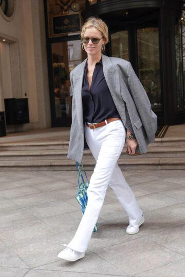 Eva Herzigova Out Milan Fashion Week