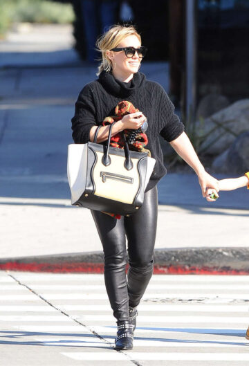 Hilary Duff Leather Pants Out Los Angeles