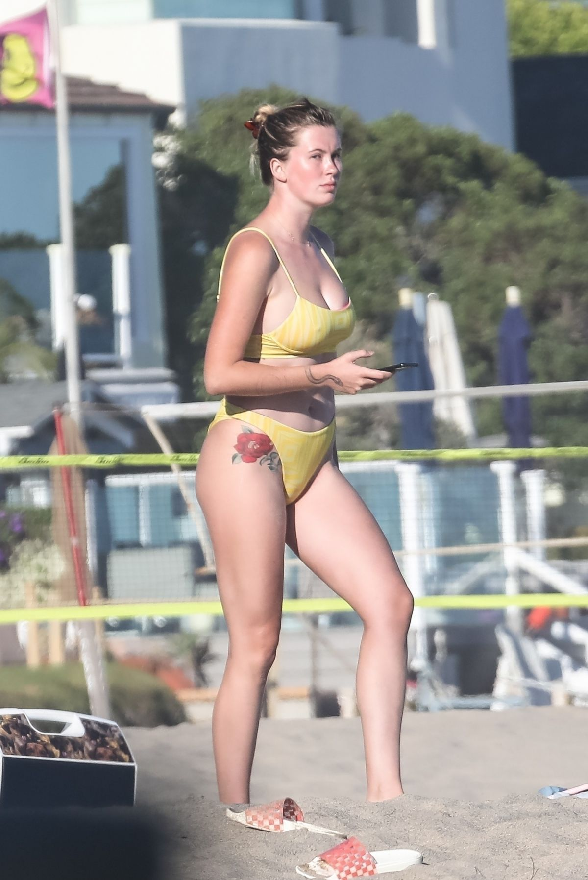 Ireland Baldwin Yellow Swimsuit Beach Malibu
