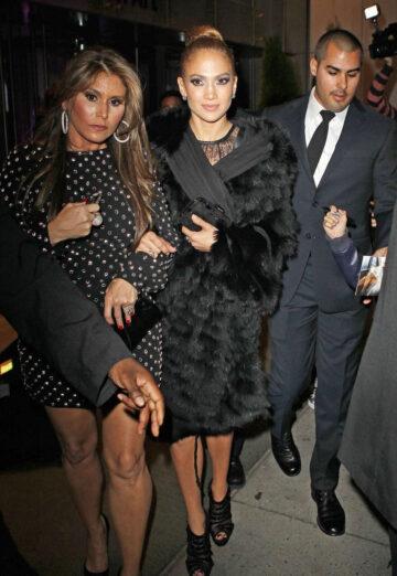 Jennifer Lopez Black Leather Mini Dress Glamour After Party