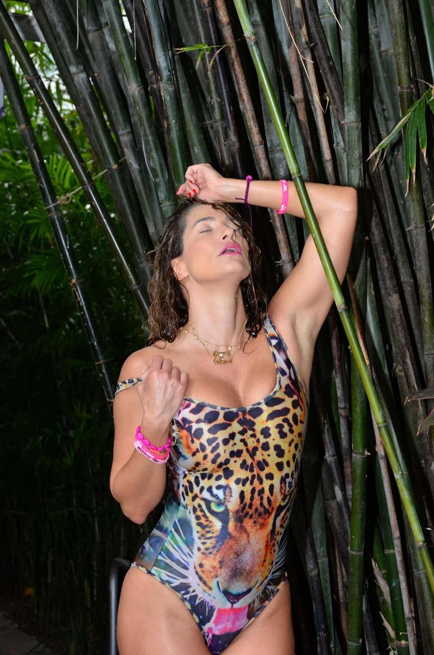 Jennifer Nicole Lee Animal Print Swimsuit Pool Miami