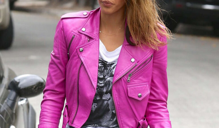 Jessica Alba Pink Leather Jacket Out Beverly Hills (11 photos)