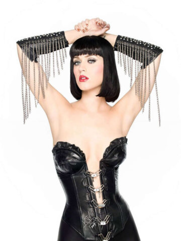 Katy Perry Black Leather Suit