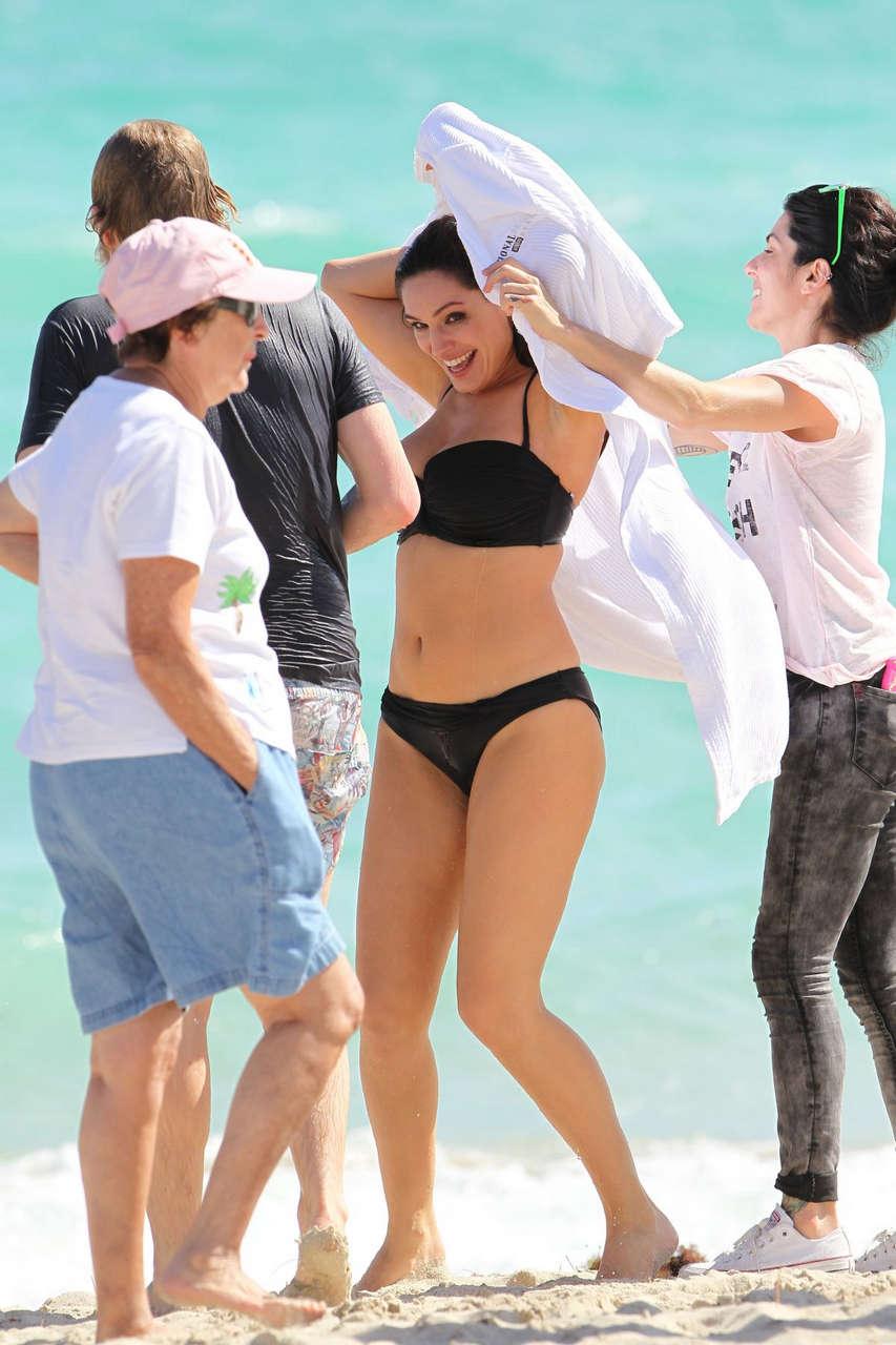 Kelly Brook Black Bikini White Robe New Look Swimwear Photoshoot