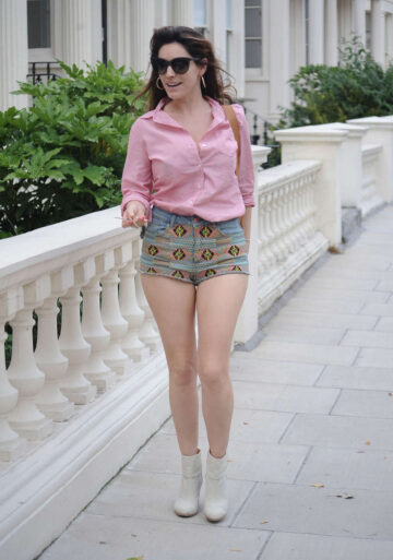 Kelly Brook Leggy Candids Shorts Out About London