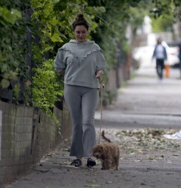 Kelly Brook Out With Her Dog Promrose Hill