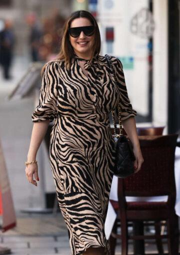 Kelly Brook Tiger Print Dress Out London