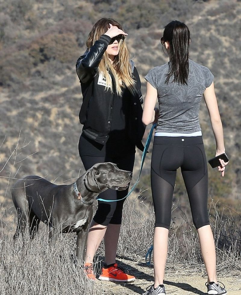 Kendall Jenner Khloe Kardashian Out Hiking Los Angeles